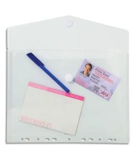 Lot de 5 pochettes enveloppes perforées, fermeture velcro, coloris incolore - Exacompta