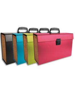 Trieur valise 20 compartiments carton rembordé papier, poignée + bouton poussoir - Exacompta