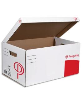 Conteneurs à archives, ouverture sur le dessus, en carton ondulé kraft - Pergamy