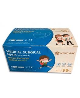 Boîte de 50 masques chirurgicaux jetables 3 plis pour enfants, type IIR, CE EN14683 2019
