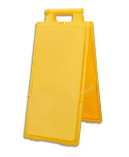 Balise de signalisation de sol jaune à personnaliser, pliante L28 x H65 x P4/15 cm - Viso