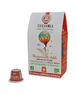 TERRAMOKA Paquet de 15 capsules Café bio Arabica Brésil et Mexique, biodégradables, compatibles Nespresso