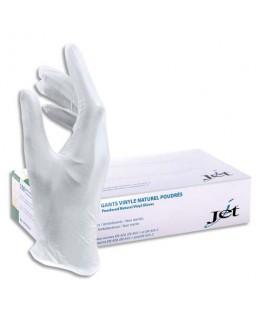 Boîte de 100 gants en vinyle poudré économique longueur 24 cm Taille 6-7