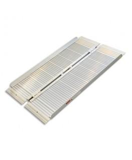 VISO Rampe d'accès PMR en aluminium Gris, pliable, avec poignée, charge 272 kg, L122 x H5/7 x P35/71 cm
