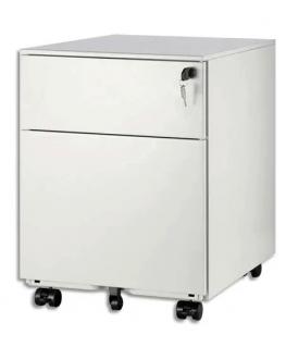 MT INTERNATIONAL Caisson métal 2 tiroirs dont 1 pour DS Blanc MT5 - Dimensions : L42 x H50 x P56,5 cm