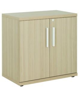 GAUTIER OFFICE Rangement bas Brabant Chêne Blanc, 2 portes, 1 étagère amovible - Dim : L80 x H78 x P45 cm