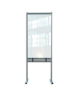 NOBO Cloison de séparation bas ajourée film PVC transparent, Médium, sur pied mobile, L78 x H206 x P61 cm