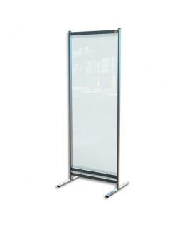 NOBO Cloison de séparation film PVC transparent, Médium, sur pied mobile - Dimension L78 x H206 x P61 cm