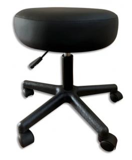 Tabouret mobile Guali en polyuréthane Noir, assise mousse 90 kg/m3, réglable en hauteur de 45 à 57 cm