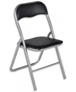 Lot de 6 chaises pliantes Juny en PVC Noir, structure en acier peinte en gris aluminium