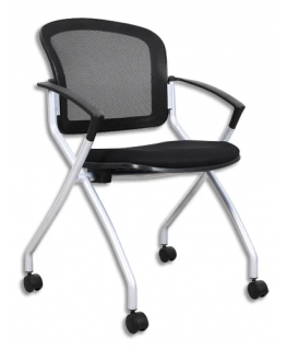 Lot de 2 chaises Spacemesh en maille Noir, sur roulettes, avec assise rabattable, Hauteur 48 cm