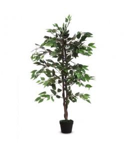 PAPERFLOW Plante artificielle Ficus feuillage en polyester Vert, livré dans pot standard, Hauteur 120 cm