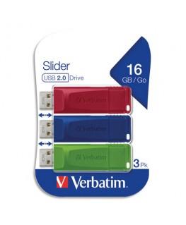 VERBATIM Pack de 3 clés USB 2.0 16Go Rouge/Bleue/Verte rétractable 49326