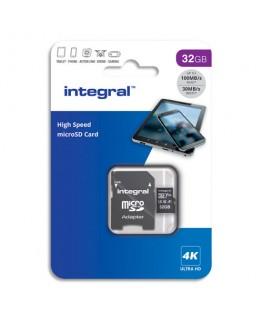 INTEGRAL Carte Micro SDHC+adaptateur 32Go V30 U3 A1 Class 10 UHS-I 100MB/s