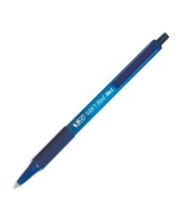 Stylo à bille pointe moyenne rétractable encre bleue corps caoutchouc anti-fatigue SOFT FEEL CLIC - Bic®