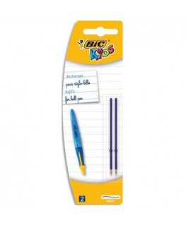 Blister 2 recharges pour stylo bille Bic® TWIST BEGINNERS avec pointe large